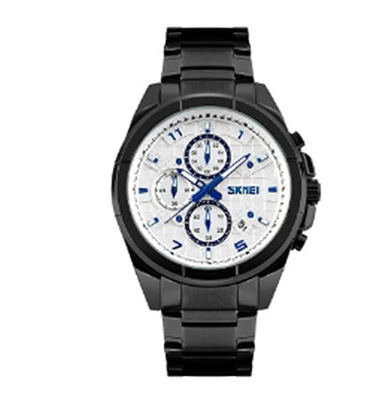 Skmei hombres de negocios reloj resistente al agua reloj de cuarzo de seis polos acero reloj: Amazon.es: Relojes