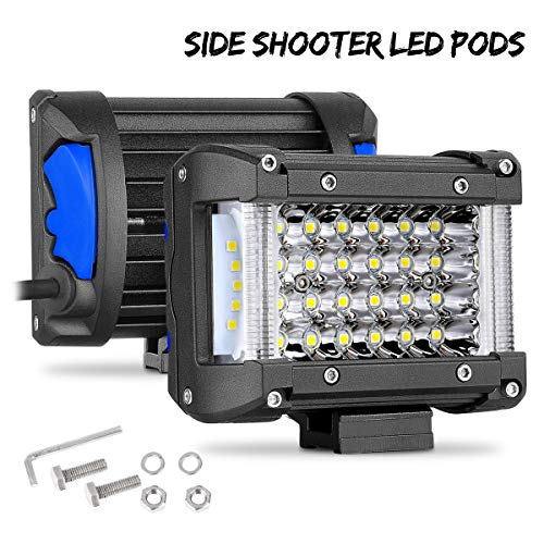 (Side Shooter LED Pods Swatow Industries 2PCS 170W 4 Inch Quad Row LED Light Pods Off Road LED Cubes Spot Flood Combo Work Lights Fog Lights LED Driving Lights for)