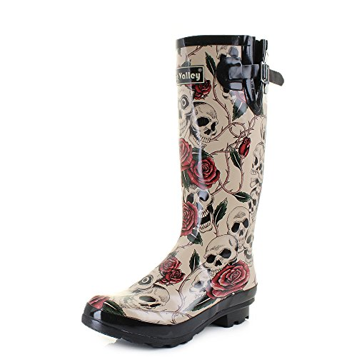 Womens Wyre Skull And Roses Print Wellies Festival Wellington Boots SIZE 7