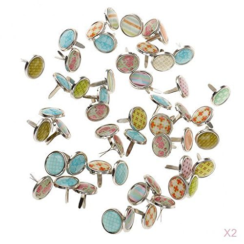 Jili Online 100 Pieces Mixed Metal Mini Decorative Brads Paper Fasteners for Paper Crafts Scrapbook DIY 12mm -