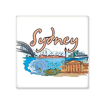 Australia City Landmark Sydney Opera House and Great Barrier Reef Watercolor Ceramic Bisque Tiles for Decorating Bathroom Decor Kitchen Ceramic Tiles Wall Tiles