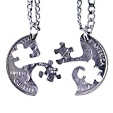 """MaryCrafts Set Hand Coin Cut Puzzle Piece Necklace Interlocking Necklace Jewelry Relationship BFF 18"""""""