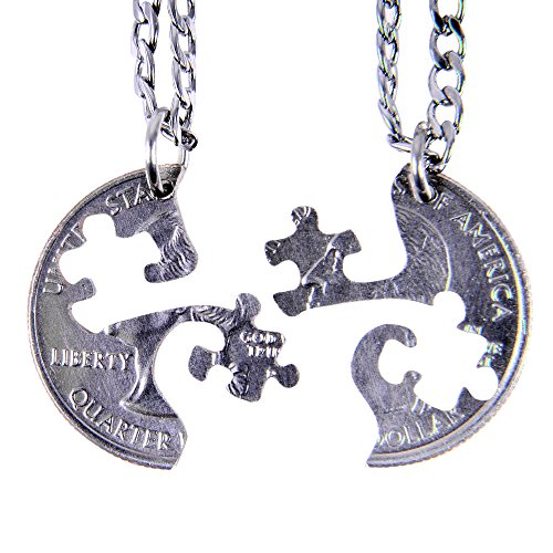 Marycrafts Set Hand Coin Cut Puzzle Piece Necklace Interlocking Necklace Jewelry Relationship BFF 22