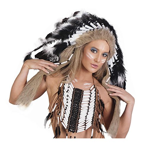Unisex Native American Indian Tribal Headdress (Black) -