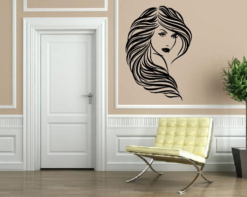 Sexy Hot Young Girl with Long Wavy Hair Beauty Salon Wall Decor Mural Vinyl Art Sticker M097 22.5 in by 35