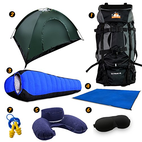 Price comparison product image Full Camping Kit by Traveler Fantasy - 80L Large Bag, 2 Person Tent, Tent Mat, Mummy Sleeping Bag, Inflatable Pillow, Ear Plug and Eye Covers (Green Tent)
