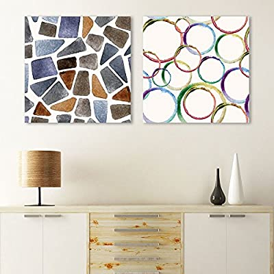 Stunning Piece, 2 Panel Square Abstract Patterns Patterns x 2 Panels, Professional Creation