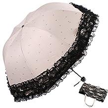 kilofly Anti-UV Folding Arched Parasol Lace Embroidered Travel Umbrella, UPF 40+