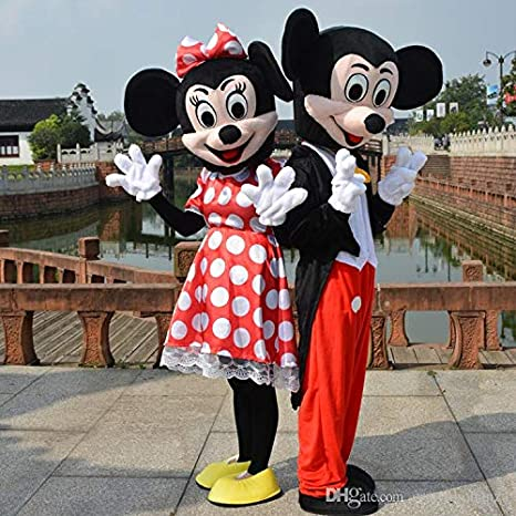 COPPIA DI MASCOTTE COSTUME PER ADULTI MINNIE E TOPOLINO MICKEY MOUSE NUOVI
