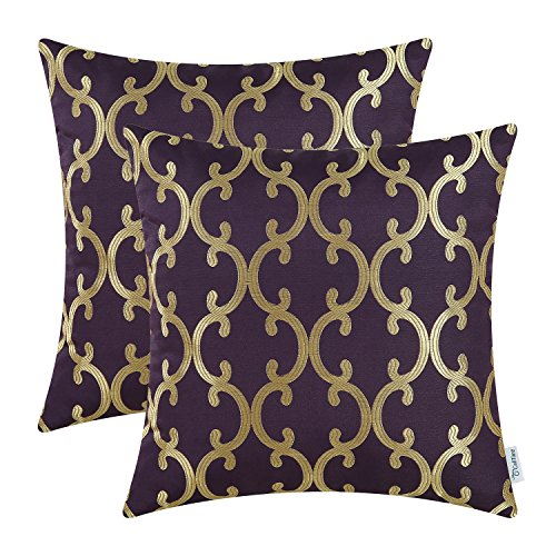 CaliTime Pack of 2 Throw Pillow Covers Cases for Couch Sofa Home Decoration Modern Quatrefoil Geometric Trellis Chain 18 X 18 Inches Aubergine/Gold