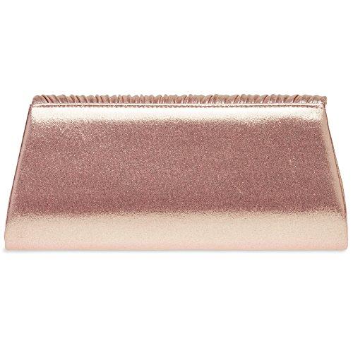 Estilo Oro Rosa Brillante Decoracin Fiesta con de de Clutch CASPAR Drapeada para Mujer TA398 Bolso Mano 6BzTWTUq
