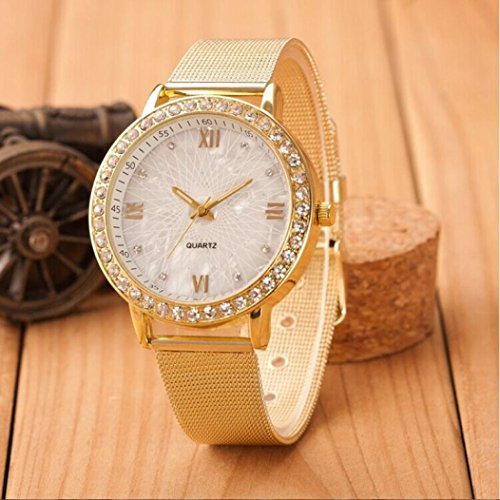 Han Shi Watch, Women Fashion Luxury Diamond Crystal Gold Mesh Band Wrist Watch Bracelet (M, - Women Luxury Brands