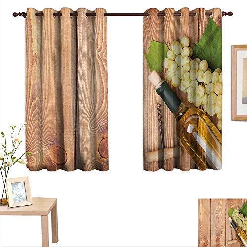 Winery Thermal Insulating Blackout Curtain Wine Bottle and Bunch of Grapes on Wooden Table Background Romantic Italian Dinner 63