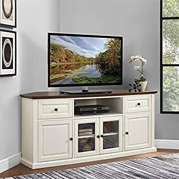 Crosley Furniture Shelby 60 Corner TV Stand in White and Mahogany