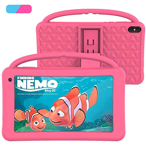 Kids Tablet 7 Inch IPS HD Display QuadCore Android 10.0 Tablet PC for Kids - GMS Certificated Dual Cameras 2GB RAM 32GB ROM WiFi with Handheld Kids-Proof Silicon Case for Kids Educational(Pink)