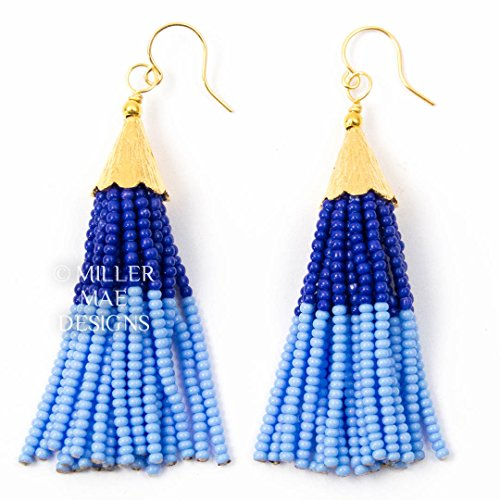 navy-and-periwinkle-beaded-mini-tassel-earrings-275-inches-long-handmade-statement-earrings-by-mille