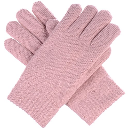 BYOS Winter Womens Toasty Warm Plush Fleece Lined Knit Gloves, 14 Solid Colors (Pastel Pink)