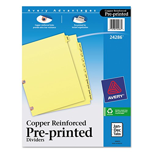 Avery Copper Reinforced Preprinted Tab - Avery 24286 Preprinted Laminated Tab Dividers w/Copper Reinforced Holes, 12-Tab, Letter
