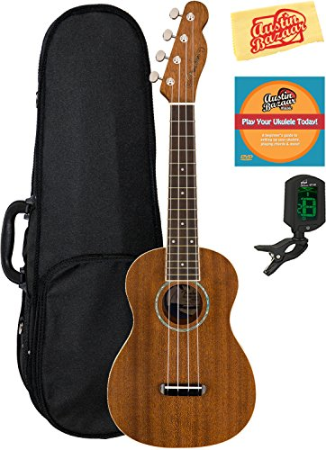 Fender Zuma Concert Ukulele Bundle with Hard Case, Tuner, Austin Bazaar Instructional DVD, and Polishing Cloth by Fender