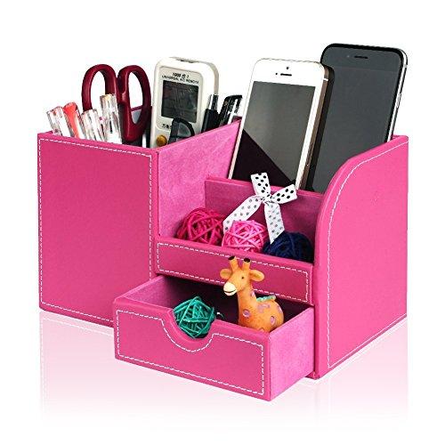 Multifunctional Office Desktop Decor Storage Box Leather Stationery Organizer Pen Pencils Remote Control Mobile Phone Holder Pen Holders Desk Accessories & Organizer