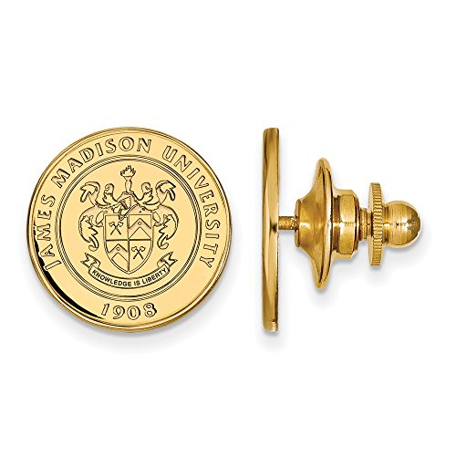 14k Yellow Gold LogoArt Official Licensed Collegiate James Madison University (JMU) Crest Lapel Pin by LogoArt