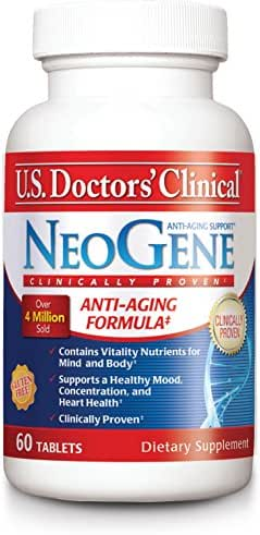 U.S. Doctors' Clinical NeoGene Anti-Aging Supplement Original Formula with Vitality Nutrients for Enhacing Mood, Sharpening Cognition, Heart Health, and Antioxidant Support [1 Month Supply - 60 Count]