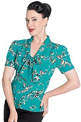 Hell Bunny Birdy 40s 50s Pin Up Landgirl WW2 Retro Vintage Style Blouse