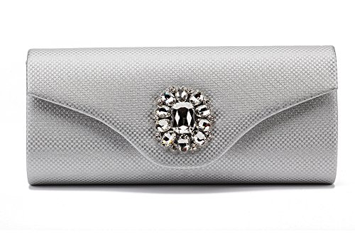 Marswoodsen Fashion Silver Evening Clutches Purse for Womeen Rhinestone PU Leather Handbag for Cocktail Party ()