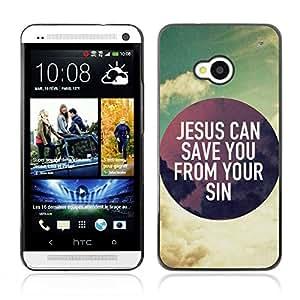 Paccase / Dura PC Caso Funda Carcasa de Protección para - BIBLE Jesus Can Save You From Your Sins - HTC One M7