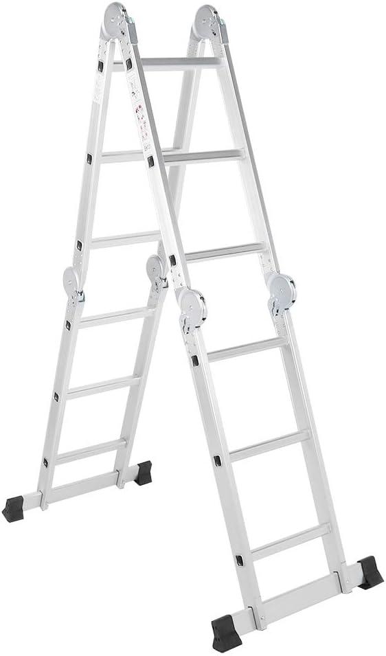 articulada con alfombrillas antideslizantes Escalera telesc/ópica de 12 pelda/ños plegable escalera combinada 330 lb multifunci/ón
