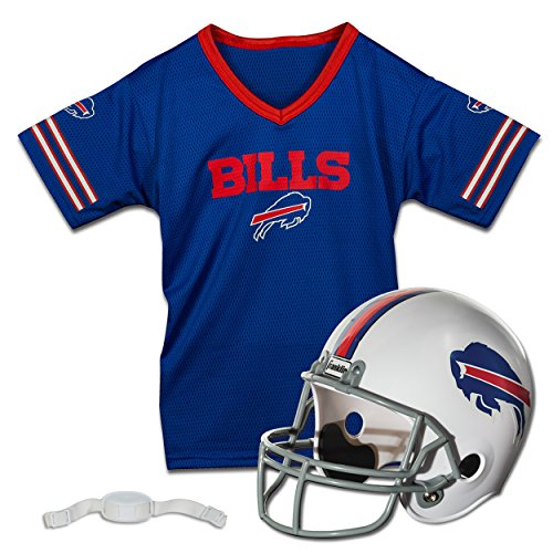 Buffalo Bill Costumes (Franklin Sports NFL Buffalo Bills Replica Youth Helmet and Jersey Set)