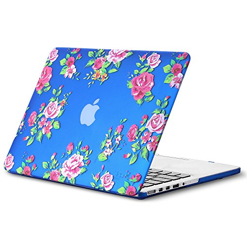 Kuzy - Older Version MacBook Pro 13.3 inch Case (Release 2015-2012) Rubberized Hard Cover for Model A1502 / A1425 with Retina Display Shell Plastic - Vintage Flowers Blue