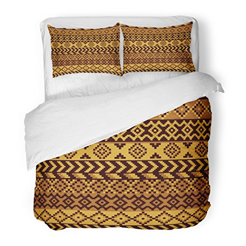 SanChic Duvet Cover Set Brown Southwest African Pattern Geometric Orange Africa Abstract Decorative Bedding Set 2 Pillow Shams King Size by SanChic