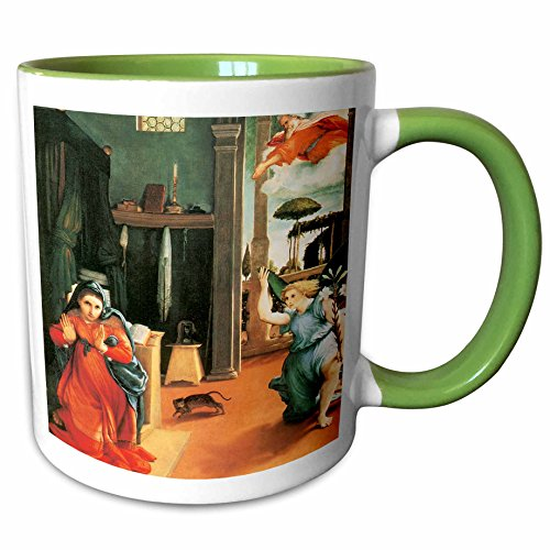 3dRose BLN Italian Renaissance Fine Art Collection - The Annunciation by Lorenzo Lotto - 15oz Two-Tone Green Mug (mug_127077_12)