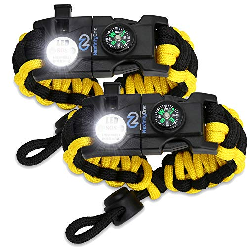 Nexfinity One Survival Paracord Bracelet - Tactical Emergency Gear Kit with SOS LED Light, Knife, 550 Grade, Adjustable, Multitools, Firestarter, Compass, and Whistle - Set of 2 Yellow