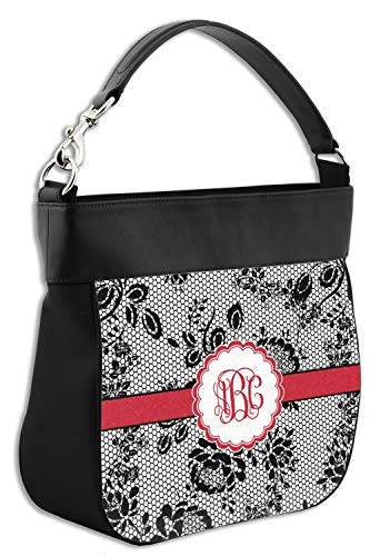 Black Lace Hobo Purse w/Genuine Leather Trim - Front & Back (Personalized)