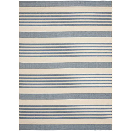 Safavieh Courtyard Collection CY6062-233 Beige and Blue Indoor/ Outdoor Area Rug (8′ x 11′)