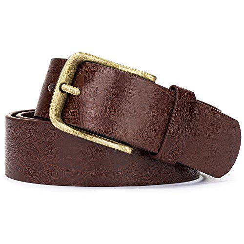 b8c7fad8025bb Tanpie Men s Leather Dress Belt with Vintage Pin Buckle for Jeans Brown ( Brown ...