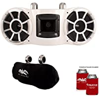 Wet Sounds REV 410 Fixed Clamp Tower Speakers with Suitz speaker Covers - WHITE
