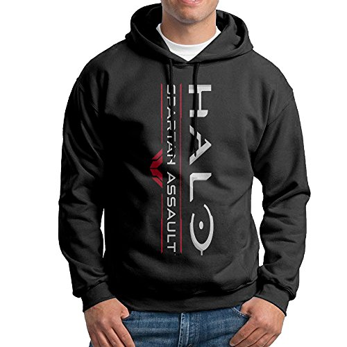 YLS Men's Ha Lo Military Science Shooter Video Game Hiking Funny Hoodie Sweater Size XXL Black