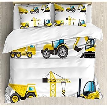 Beautiful Boyu0027s Room Queen Size Duvet Cover Set By Lunarable, Cartoon Heavy Machinery  Truck Crane Digger