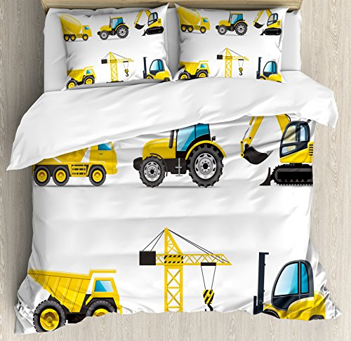 Lunarable Boy's Room Duvet Cover Set Queen Size, Cartoon Style Heavy Machinery Truck Crane Digger Mixer Tractor Construction, Decorative 3 Piece Bedding Set with 2 Pillow Shams, Yellow Grey