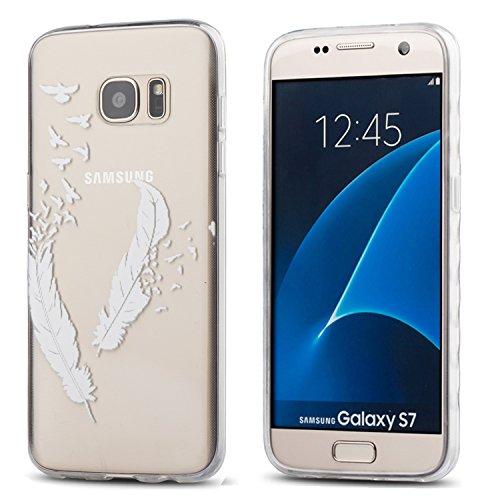 Galaxy S7 Case,3Cworld Ultra Thin Clear Art Pattern Crystal Gel TPU Rubber Flexible Slim Skin Soft Case for Samsung Galaxy S7 (Birds of A Feather-White)