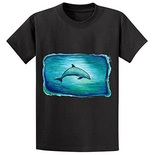 Indigo Lagoon Dolphin Watercolor Boys' Crew Neck Personalized T Shirts Black