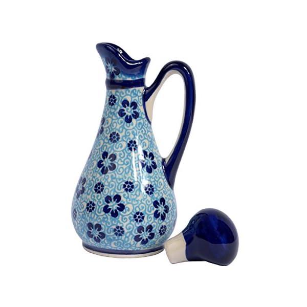 Traditional Polish Pottery, Handcrafted Ceramic Olive Oil or Vinegar Bottle 160ml, Boleslawiec Style Pattern, V.401.Flow