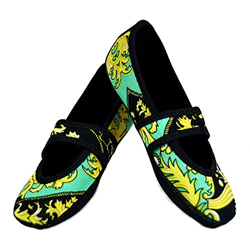 Nufoot Betsy Lou Women's Shoes, Best Foldable & Flexible Flats, Slipper Socks, Travel Slippers & Exercise Shoes, Dance Shoes, Yoga Socks, House Shoes, Indoor Slippers, Green Baroque, X-Large