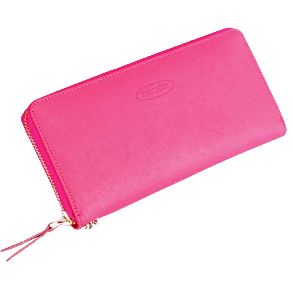 Remidoo Womens Saffiano Leather Zip Around Wallet Long Clutch Card Holder Lady Coin Change Organized Phone Case Wallet Zipper Travel Purse with Detachable Wrist Strap (Rose)