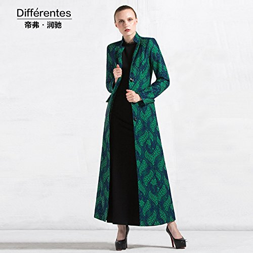 Womens HIDRRU Largo de lana, abrigos largos de Sau Sau untar video temperamento delgado cuello una maqueta pequeña puntilla señoras ss6232, serie Verde L: ...
