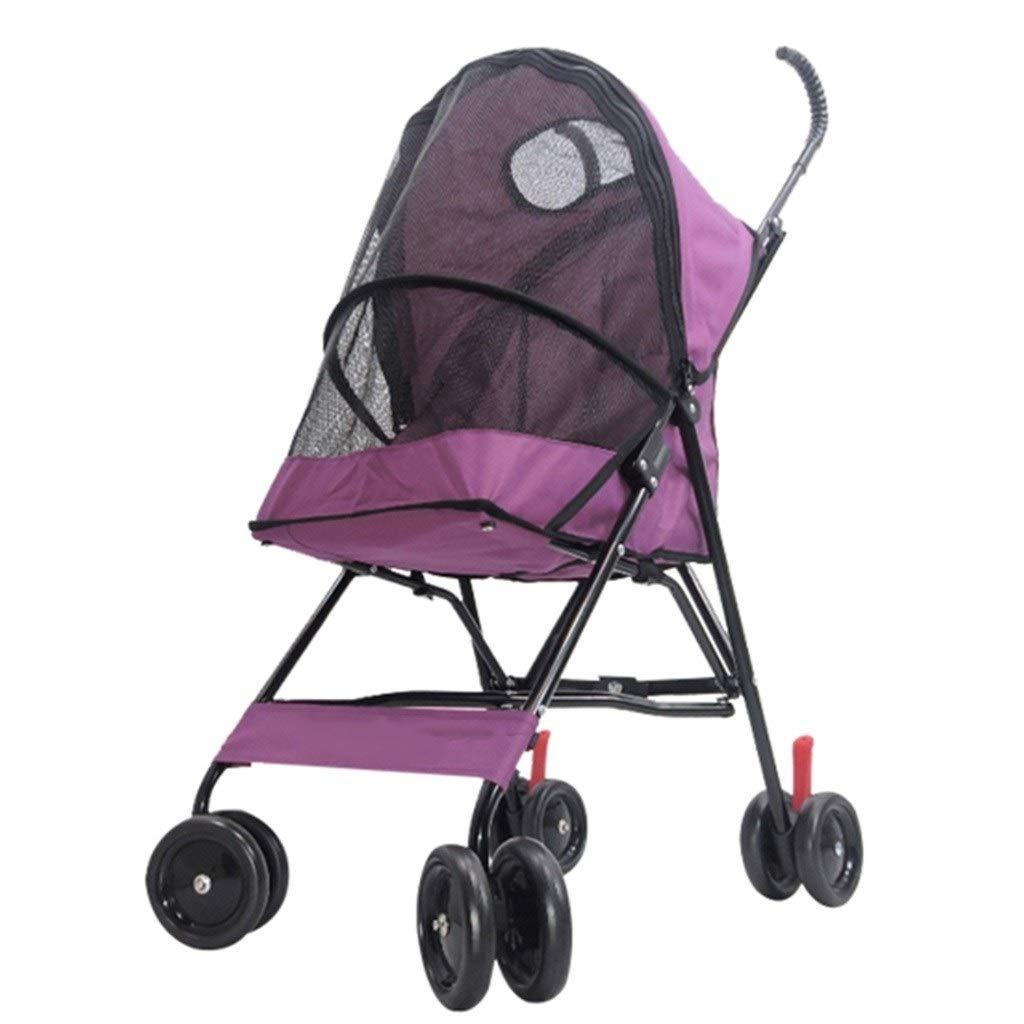 Strollers Pet Folding Pet Trolley Dog Pram Dog Cat Wagon Cat and Dog Four Wheeler Disabled Dog Pushchair Can Bear 10 Kg (Color : Pink, Size : 396494cm)