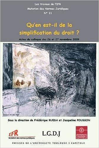 Lire un Qu'en est-Il de la simplification du Droit ? epub pdf